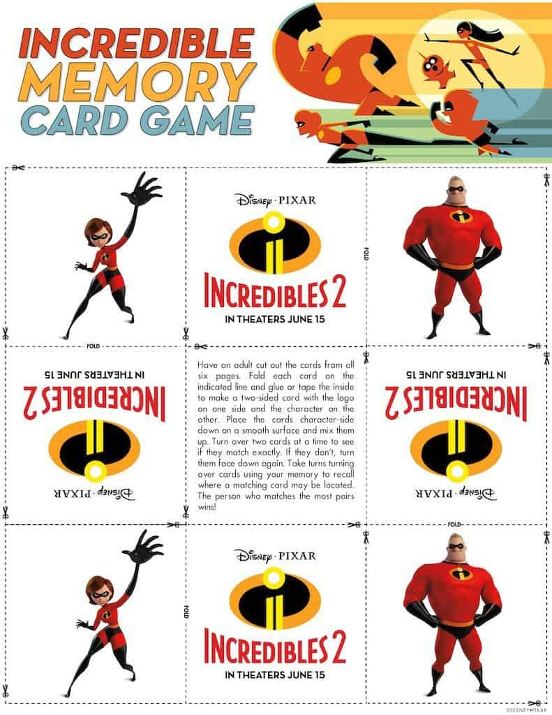 photo relating to Incredibles Logo Printable named Incredibles 2 Free of charge Printable Memory Card Match