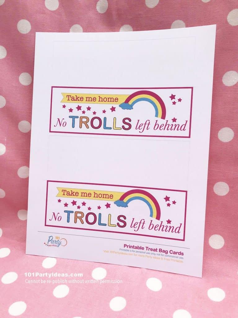 photo regarding Trolls Printable titled Trolls Social gathering: No Trolls Remaining Powering Take care of Bag Printable