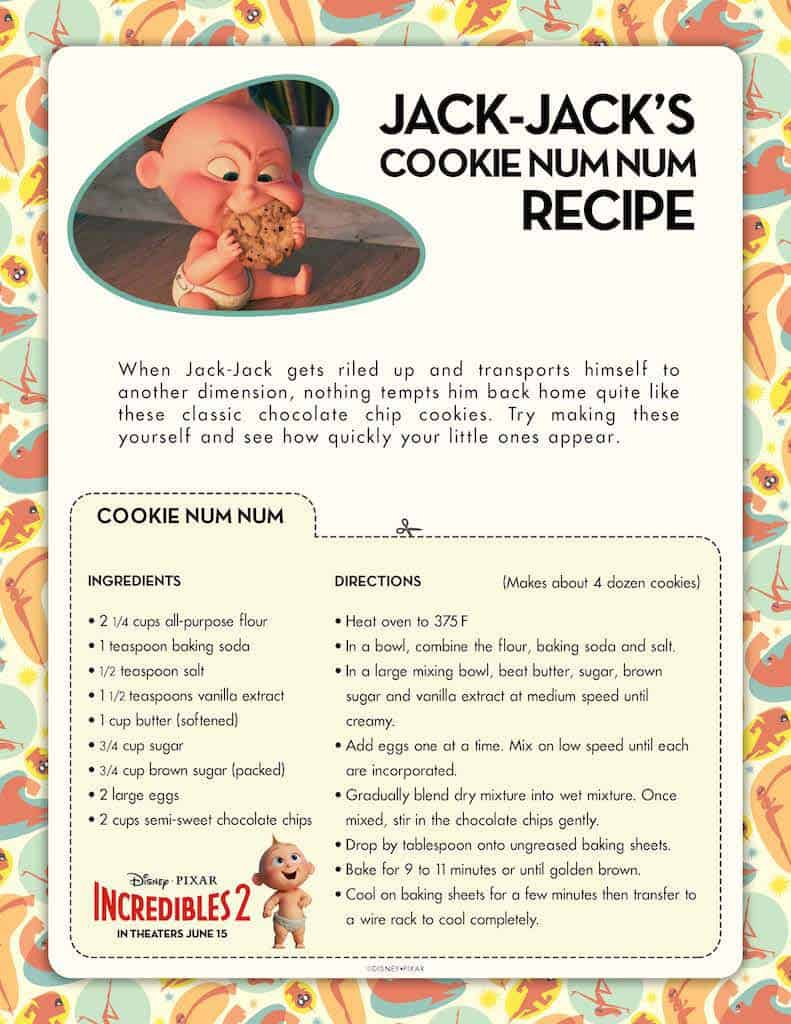 Incredibles 2 Free Printable Recipes: Waffle & Cookie