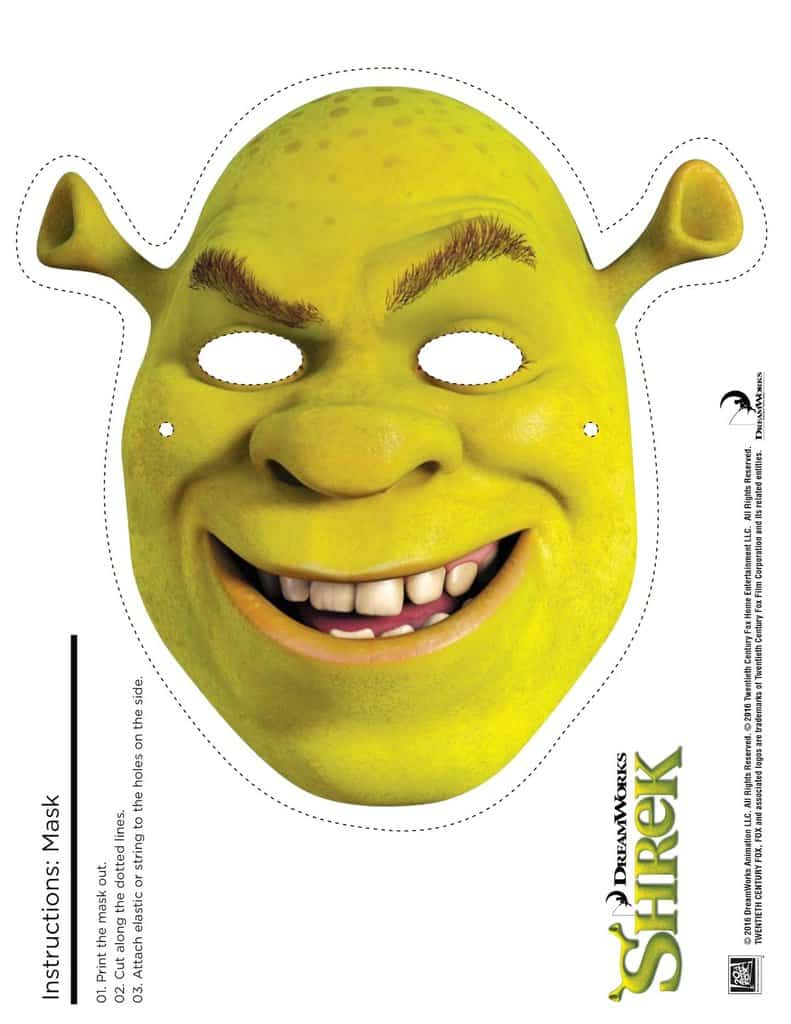graphic relating to Free Printable Masks called 4 Shrek Free of charge Printable Masks: Shrek, Fiona, Donkey, Puss inside of