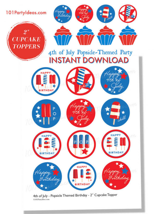 4th of July Cupcake Toppers Printables